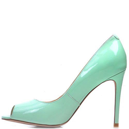 Лаковые туфли Prego из кожи мятного цвета с открытым носочком на шпильке, фото