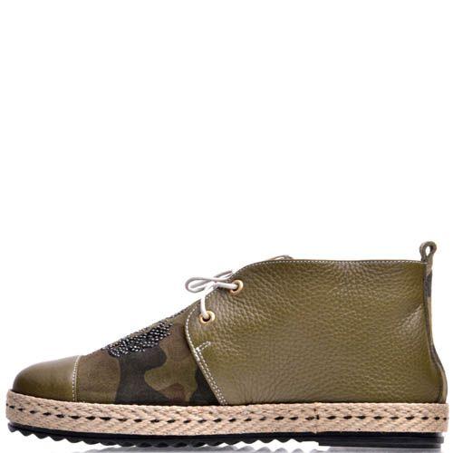 Ботинки Prego хаки с плетеной вставкой, фото