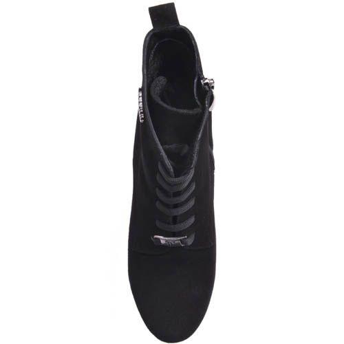 Ботильоны Prego черные замшевые на толстом каблуке, фото