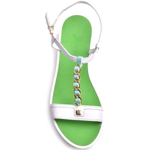 Сандалии Prego белые с цепочкой и зеленые внутри, фото