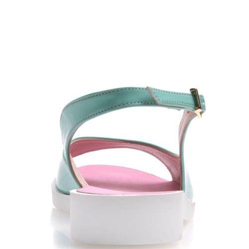 Сандалии Prego лаковые голубые и розовые внутри, фото