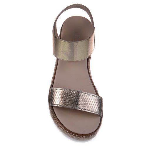 Кожаные сандалии Prego золотистого цвета, фото