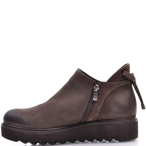Ботинки Prego из нубука коричневого цвета с завязками, фото