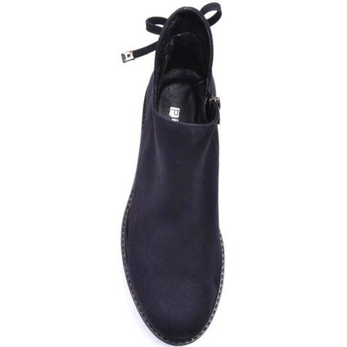 Ботинки Prego из синего нубука на завязках, фото