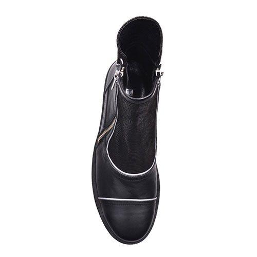 Ботинки Prego из натуральной кожи черного цвета с белой окантовкой на молнии, фото