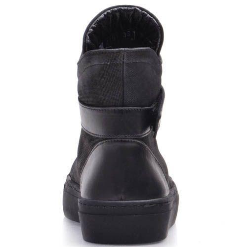 Ботинки Prego черного цвета с резиновыми перемычками и кожаным ремешком, фото