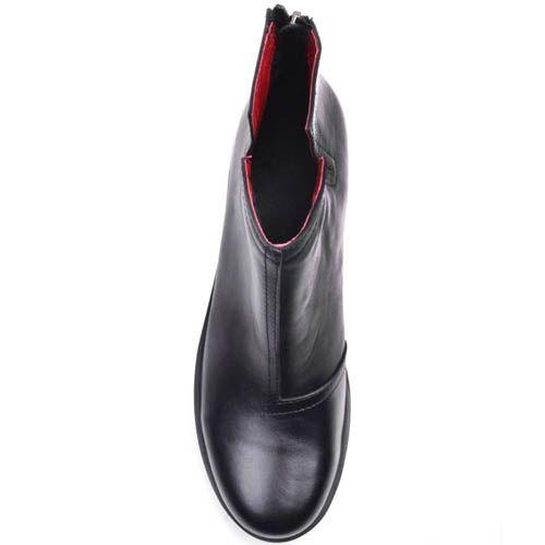 Ботинки Prego черного цвета кожаные с красной подкладкой, фото