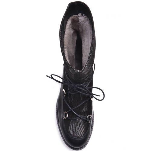Ботинки Prego зимние кожаные с блестящим голенищем черные с толстой зубчастой подошвой, фото