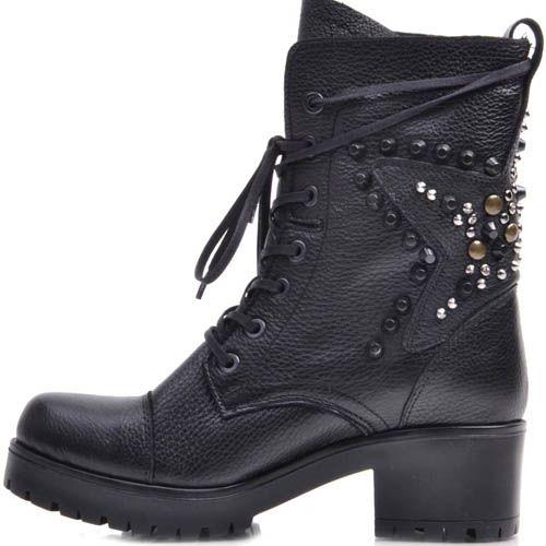 Ботинки Prego зимние из зернистой кожи на шнуровке с декором из заклепок в виде звезды, фото