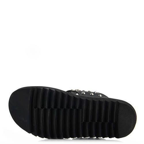 Кожаные мюли Prego черного цвета с шиповаными заклепками, фото
