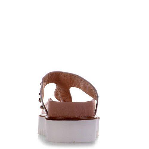 Кожаные мюли Prego белого цвета с шиповаными заклепками, фото
