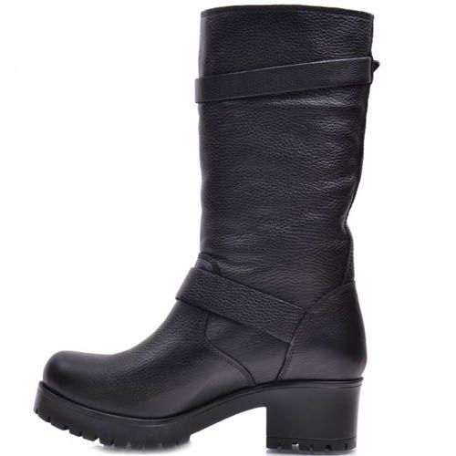 Ботинки Prego зимние кожаные с молнией и двумя пряжками, фото