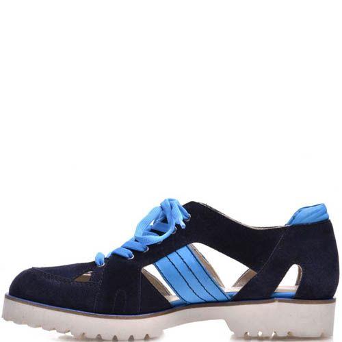 Ботинки Prego открытые синие замшевые со вставками голубого цвета, фото