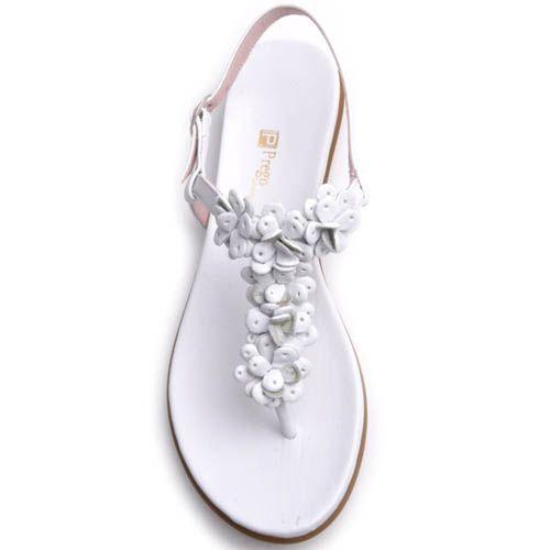 Сандалии Prego белого цвета с кожаными декоративными цветочками, фото