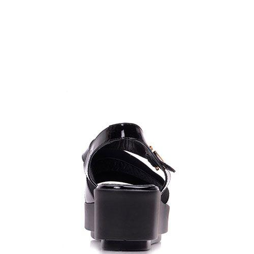 Босоножки Prego из лаковой кожи черного цвета на платформе, фото
