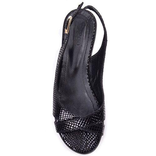 Босоножки Prego из натуральной кожи черного цвета с фактурой кожи рептилии, фото