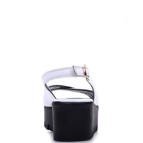 Босоножки Prego из кожи белого цвета с ремешком, фото