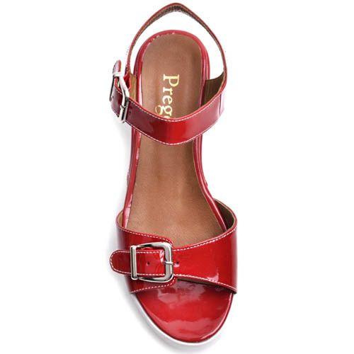 Босоножки Prego красного цвета лаковые с пряжками на спортивной подошве, фото
