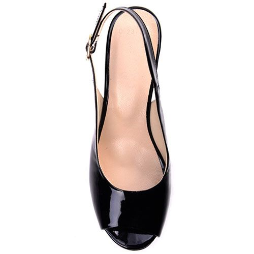 Лаковые босоножки Prego из кожи черного цвета на высокой танкетке с открытым носочком, фото