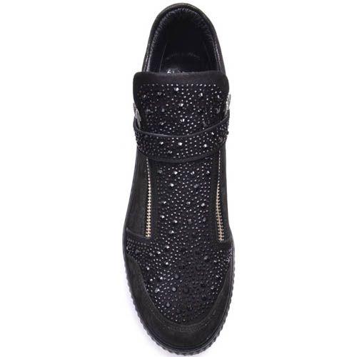 Ботинки Prego из замши и с декором из мелких черных страз, фото