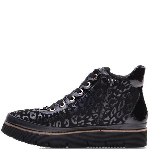 Ботинки Prego черного цвета с леопардовыми пятнами, фото