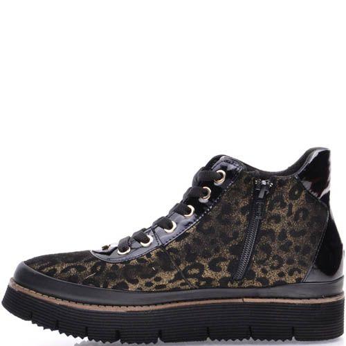 Ботинки Prego золотистого цвета с черными леопардовыми пятнами, фото