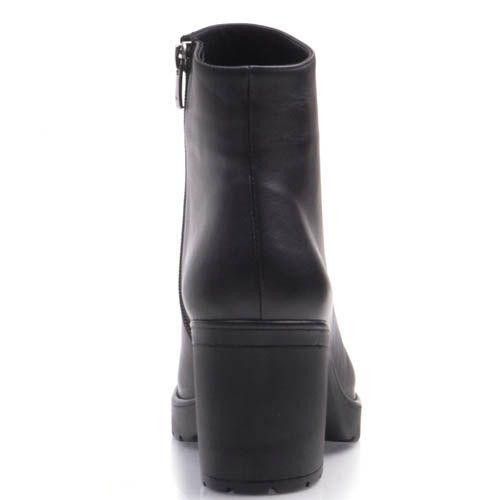 Ботинки Prego черного цвета из матовой кожи на устойчивом каблуке, фото
