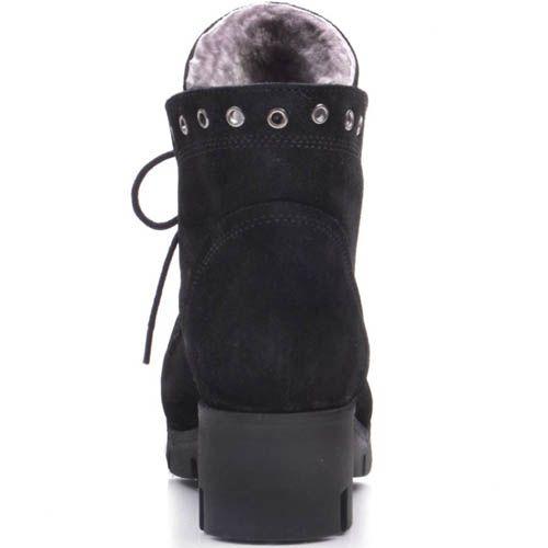 Ботинки Prego зимние черного цвета замшевые на шнуровке со стразиками на язычке и носочке, фото