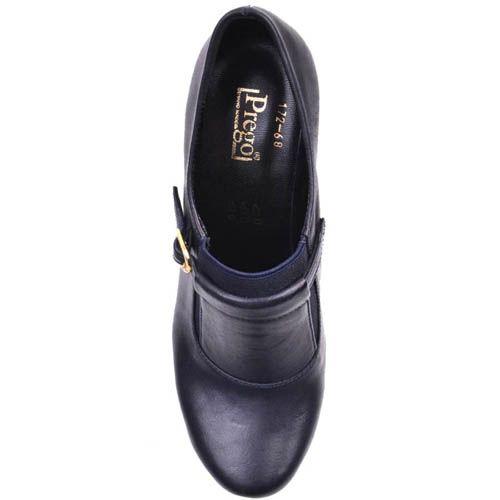 Туфли Prego синего цвета на толстом высоком каблуке и декором в виде золотистой пряжки, фото