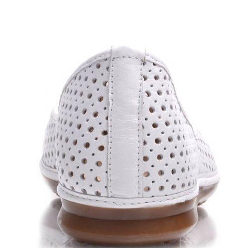 Балетки Prego белые с круглой перфорацией по всей длине, фото