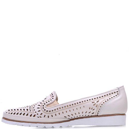 Туфли Prego из перфорированной кожи бежевого цвета, фото