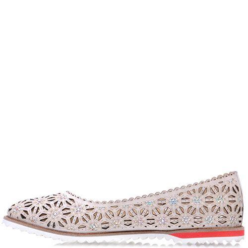 Туфли Prego из кожи бежевого цвета со сквозной перфорацией, фото