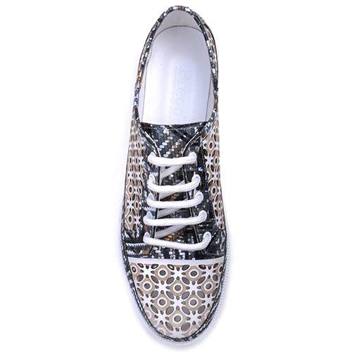 Кожаные кроссовки Prego с перфорацией и абстрактным принтом серого цвета, фото