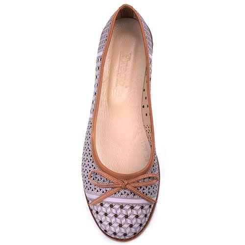 Туфли-балетки Prego из кожи коричневого цвета с перфорацией, фото