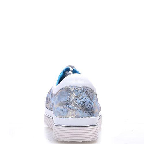 Кроссовки Prego из натуральной перфорированной кожи белого цвета с серебристым принтом, фото