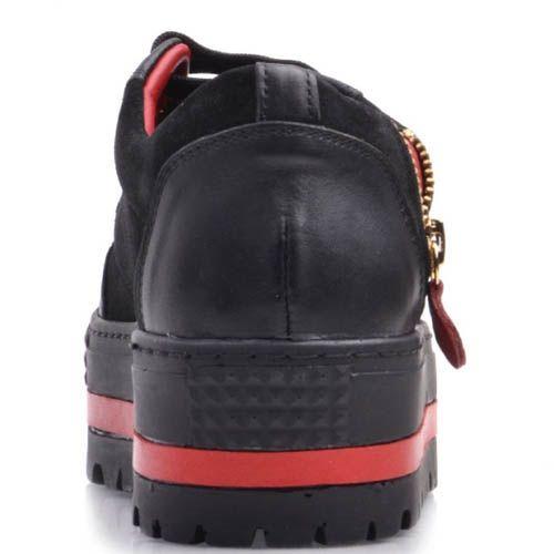 Кеды Prego на танкетка черного цвета с красными вставками со стразами и сердечком, фото
