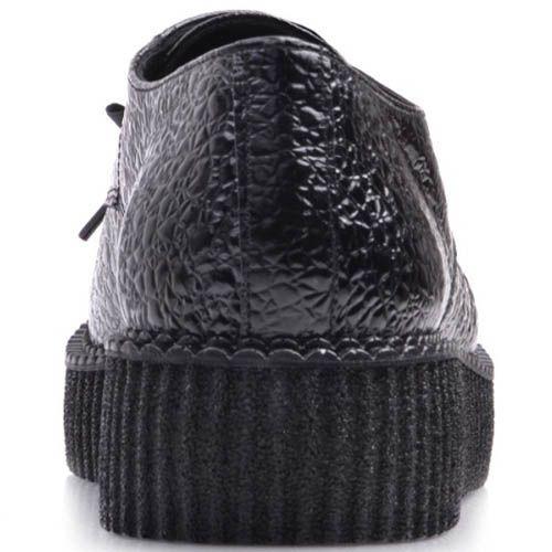Туфли Prego черного цвета лаковые из фактурной кожи с завязками в виде лент, фото