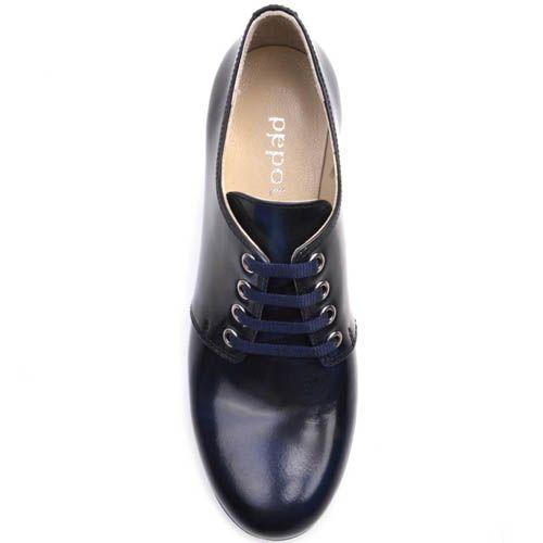 Ботинки Prego синего цвета на шнуровке кожаные с толстым каблуком и рельефной подошвой, фото