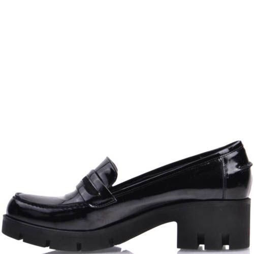 Туфли-мокасины Prego лаковые черного цвета на толстой каблуке, фото