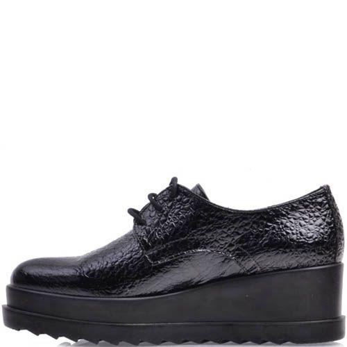 Ботинки Prego черного цвета лаковые из фактурной кожи, фото