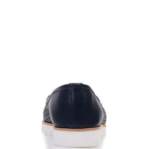 Туфли Prego из натуральной перфорированной кожи синего цвета с бежевой полосой вдоль подошвы, фото