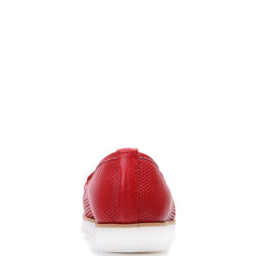 Кожаные туфли Prego красного цвета на белой подошве, фото
