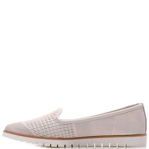 Кожаные туфли Prego кремового цвета с мелкой перфорацией, фото