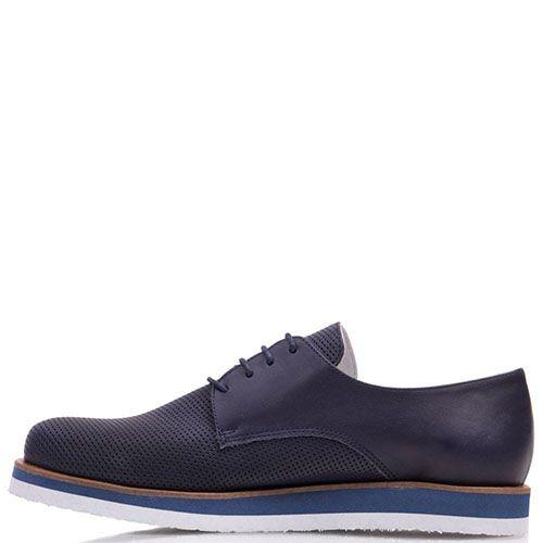 Туфли Prego из натуральной перфорированной кожи синего цвета с круглым носочком, фото