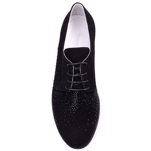 Замшевые туфли Prego черного цвета украшенные стразами, фото