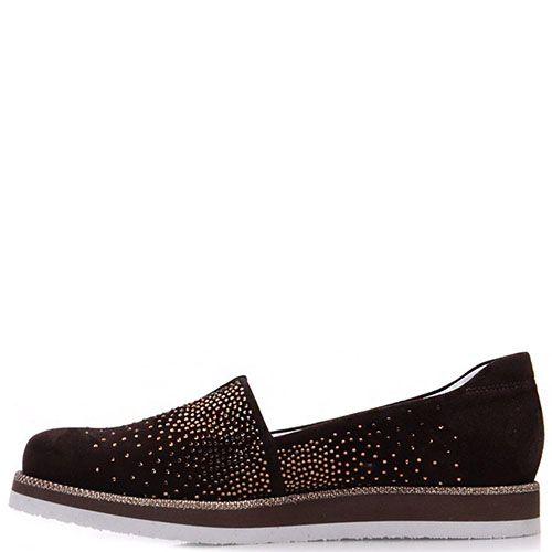 Туфли Prego из натуральной замши коричневого цвета со стразами, фото