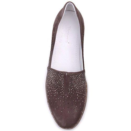 Туфли Prego из замши коричневого цвета с блестящими стразами и полосочкой вдоль подошвы, фото