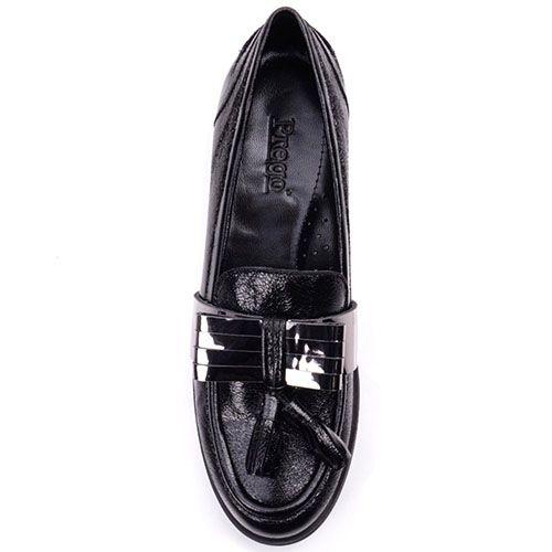 Лоферы Prego из натуральной кожи черного цвета с кисточками и металлическим бантиком, фото