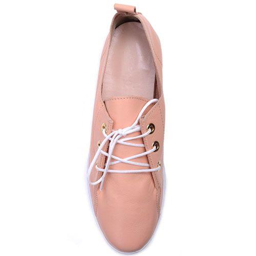 Кеды Prego из натуральной розовой кожи на шнуровке, фото