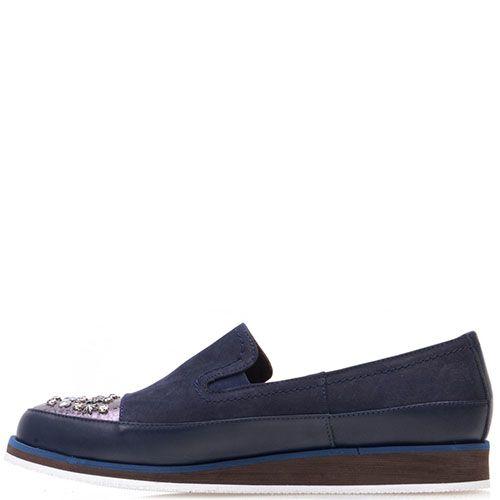 Туфли Prego из нубука синего цвета с шипами на носочке, фото